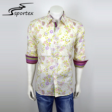 New design roll up sleeve cheap custom colorful men casual button printed fashion shirt with collar