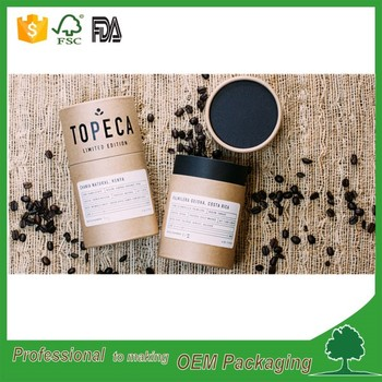 handmade recycled brown craft cardboard tube for tea packaging round box tea/coffee bean/food powder packaging tube