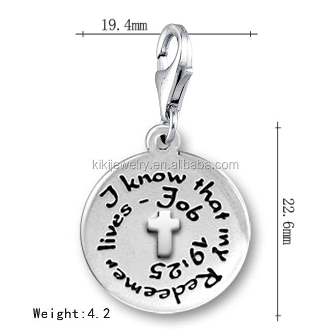 Free Shipping Lead Free Nickle Free Metal Engarved I Know That My Redeemer Lives Faith Cross Round Charm