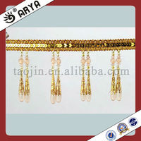 Acrylic Beaded Tassel Fringe High quality Curtain Trimming with Cylinder-Shaped Home Textile