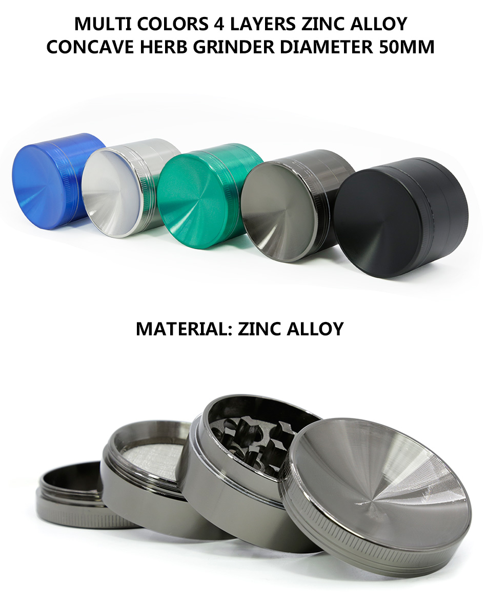 New Arrival 50MM Multi Colors 4 Layers Zinc Alloy Diamond-shape Teeth Concave Herb Grinder 5916AM-4