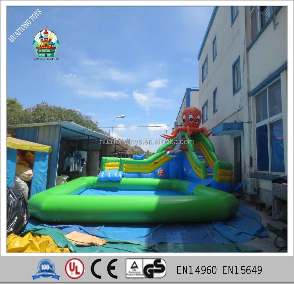 2016 hot sale pvc tarpoulin inflatable octopus water slide with pool games for kids