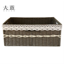 Handmade woven paper rope decorative storage basket with lace