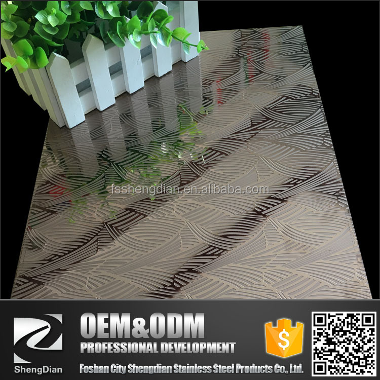 Embossed Pattern Mirror Shiny Surface Stainless Steel Material Sheet For Door Design