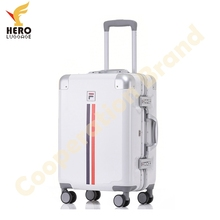 Polycarbonate Big White Sport Antique Aluminum Metal Suitcase