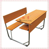 (Furniture)Cheap school furniture ,double desk and chair ,metal steel frame