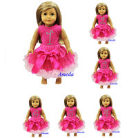 "18"" American Girl Doll Rhinestone Number 1 2 3 4 5 6 Hot Pink Princess Tee Pettiskirt Outfit"