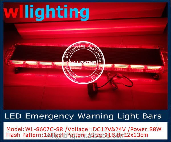 47'' Full Size COB Red Emergency Vehicle Ambulance Truck Strobe warning Light Bar 1200mm