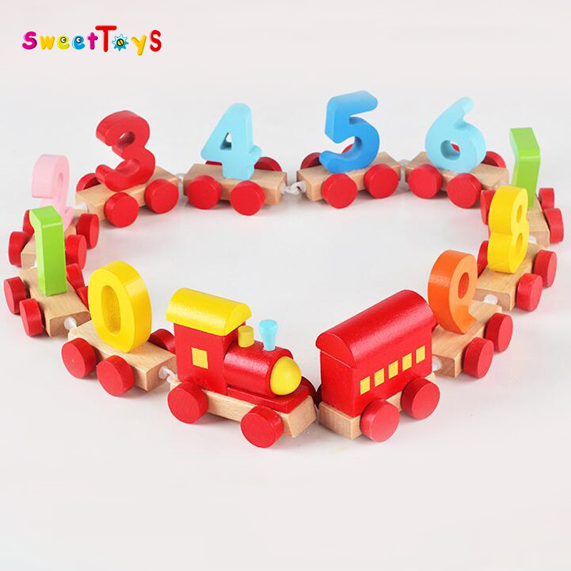 Mini wooden number train for children toy . High quaility Number wooden train for kids education toys.