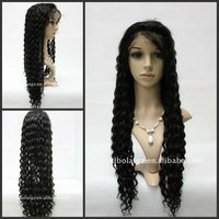 Brazilian Hair Full Lace Wig,100%Human Hair Full Lace Wig Natural Color 28inch Deep Wave
