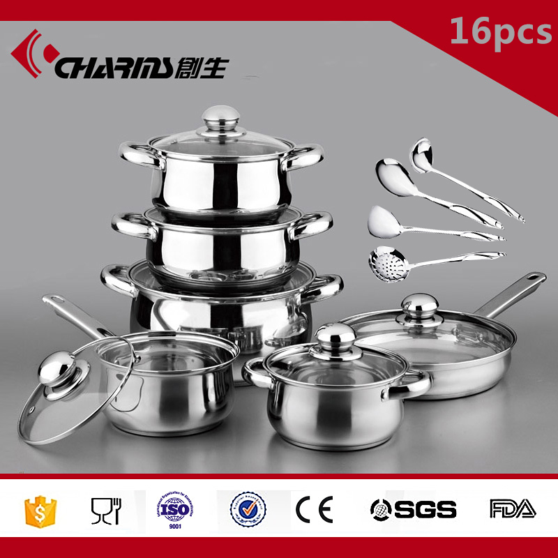 Best Stainless Steel Kitchenware Wholesale, 16Pcs Stainless Steel Cookware Set Non Stick