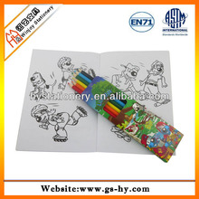 coloring book with color pencil, diy stationery set