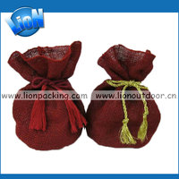red burlap drawstring pouch for wedding