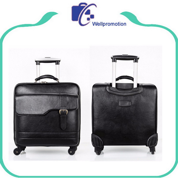 Wholesale trolley travel black pu leather cabin suitcase carry on luggage