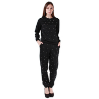 Women Dot Print Gym Outfit Soft Hoodies And Pants