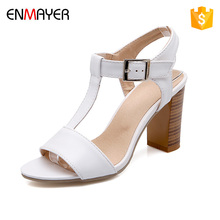 wholesale summer high heel peep toe sandal white and black women mid heel roman shoes fashion girls high heel shoes