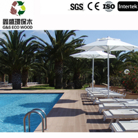 WPC flooring using in garden, park,swimming pool side