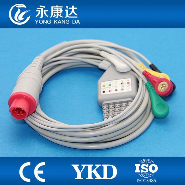 Bionet ONE PIECE ecg cable with 5-lead snap 6pins IEC leadwires