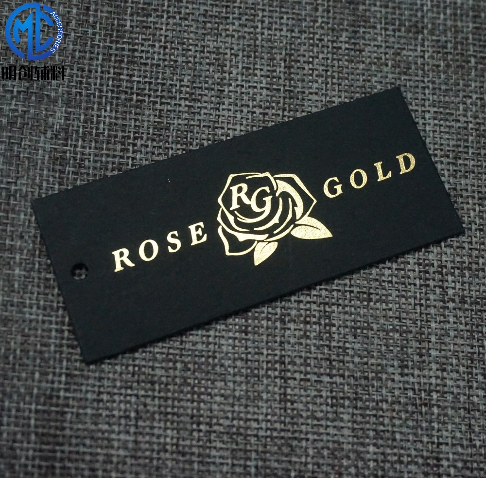 Custom gold foil rose logo scarves hang tag custom shoe tag custom tag for bag