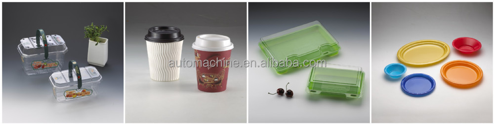 Automatic plastic food container thermoforming making machine