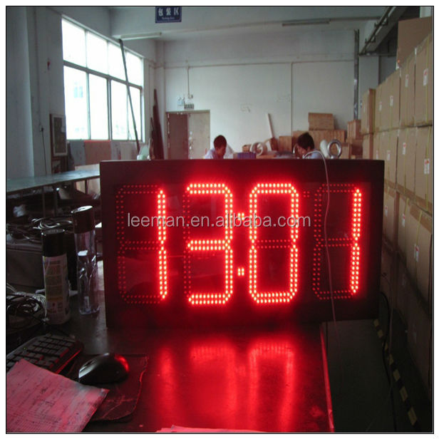Leeman LEDMAN outdoor led display time temperature clock display, outdoor led digital clock display led large digital wall clock
