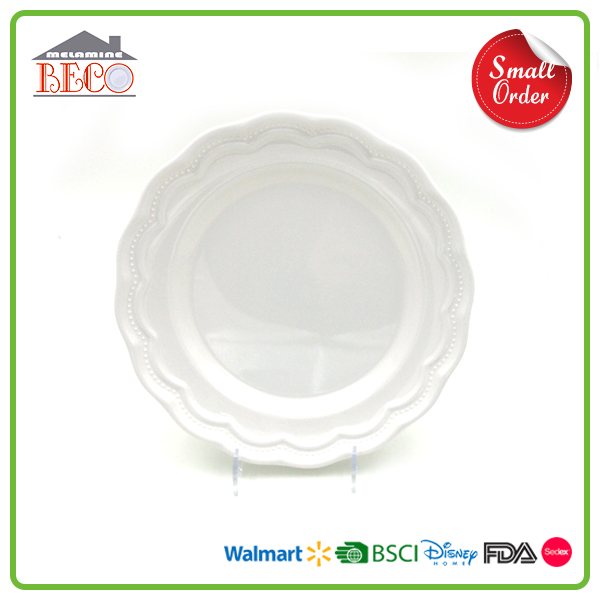 Free Sample White Color Round Plastic Melamine Chef Dish With Food Grade