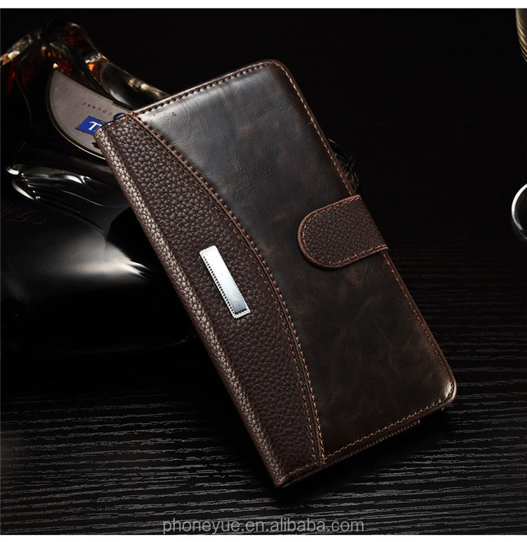 2016 Fashion Retro Litchi and Crazy Horse Pattern Leather Wallet Flip Case for Samsung J7