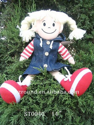 Plush doll for girls in jeans skirt