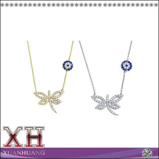 Sterling Silver Evil Eye Dragonfly Necklace Pendant Necklace CZ Dragonfly Silver Necklace
