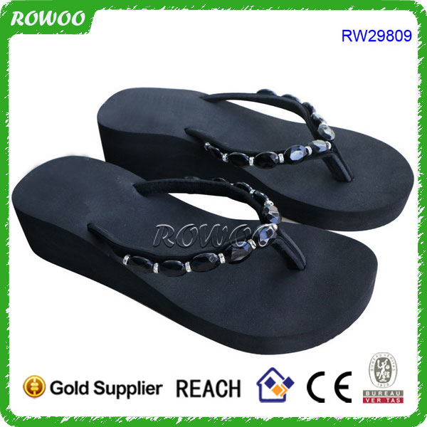 2017 OEM Cheap Wholesale Custom Girl Black EVA Wedge Outdoor Flip Flops