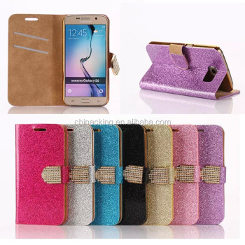 Luxury Bling Crystals Glitter Flip Leather Case Cover For Samsung S6 Wallet Phone Bag Rhinestone Cover + Card Slot