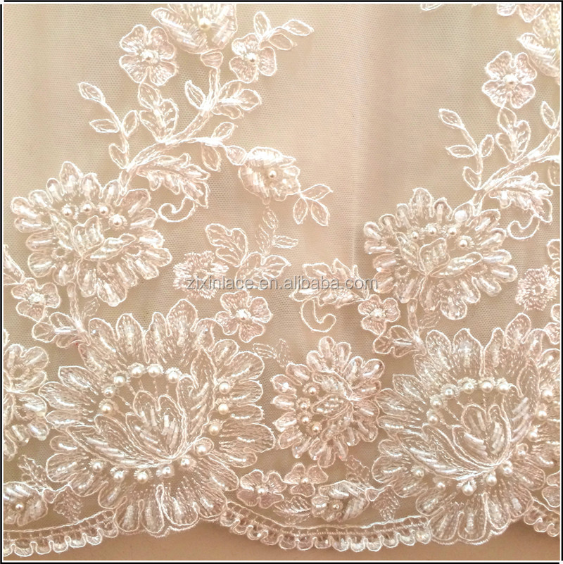 Handwork Beads Embroidery Lady Lace Fabric For Wedding