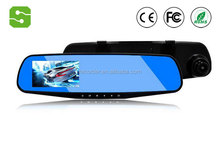 "HD 4.0"" Dual Lens Video Dash Cam Recorder Car Camera DVR Rearview Mirror + Front Car DVR + Rear view Camera"
