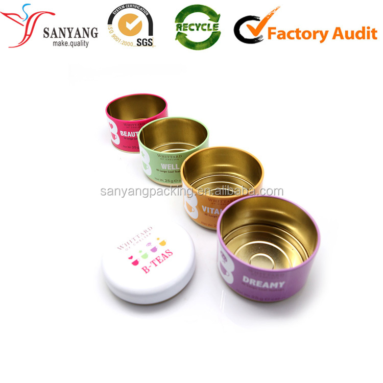 Small pretty round clean smooth custom tin storage box for tea/chocolate/candy/cake/gift packaging box