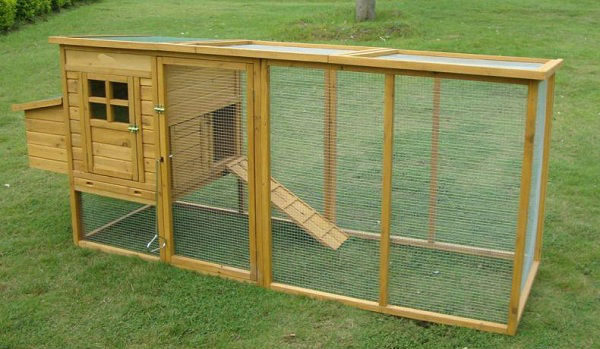 Wooden chicken coop with big run