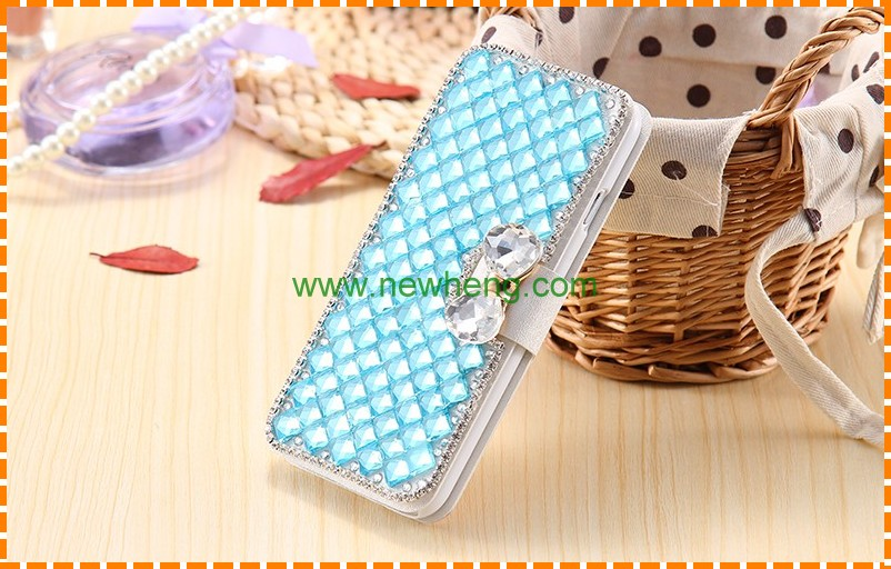 Bling 3d diamond leather wallet case with bowknot for iphone 6 6 plus