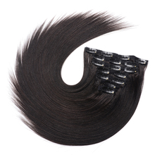 4 colors available 120g kinky straight clip in human hair extensions