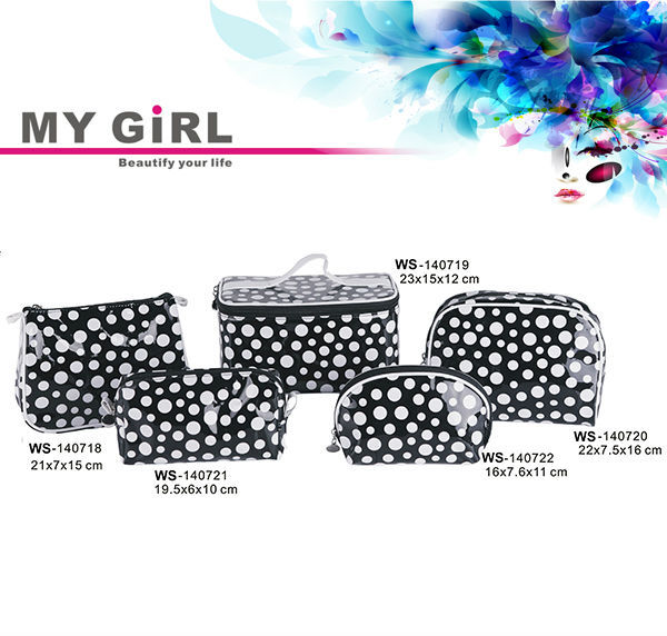 MY GIRL wholesale cheap price high quality luxury fashion Polka Dot canvas cosmetic bag