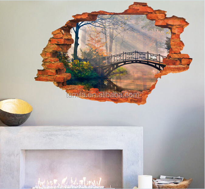Removable 3D bridge window sticker for living room decoration