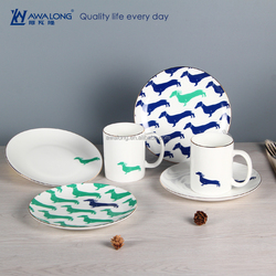 Dog Painting Colorful Dreamy Ceramic Western Style Food Plate, Household Bone China Tableware For Wholesale