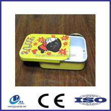 High quality rectangular small mint tin can/ Small metal hinged lid tin box