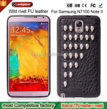 Wild rivet PU leather mobile phone back cover case for Samsung N7100 Note II