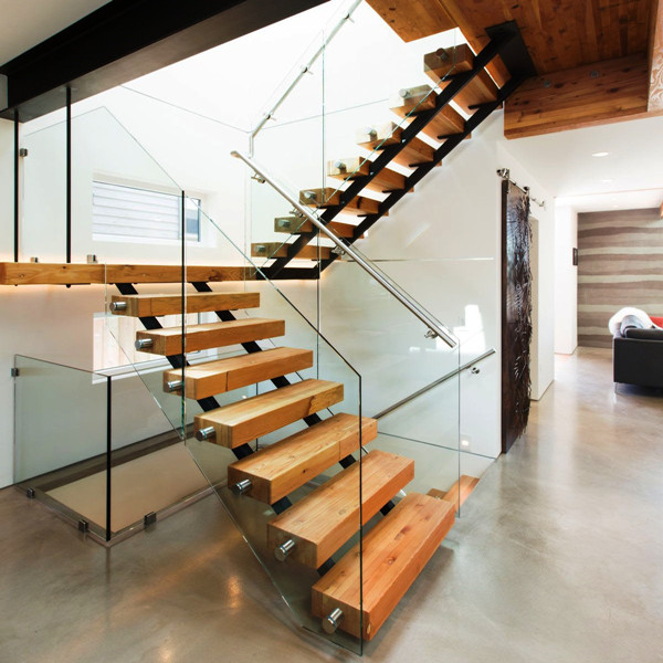 commercial metal stairs wood treads/ floating stair / straight staircase