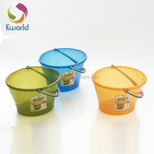 new design customized top quality oem laundry basket,plastic storage bucket with rope handle