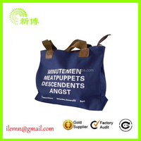 custom printed decorated denim jean canvas cloth tote shopper bag