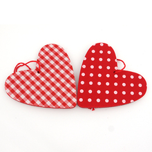 S/24 6.5CM red/white checker heart christmas hanging ornament