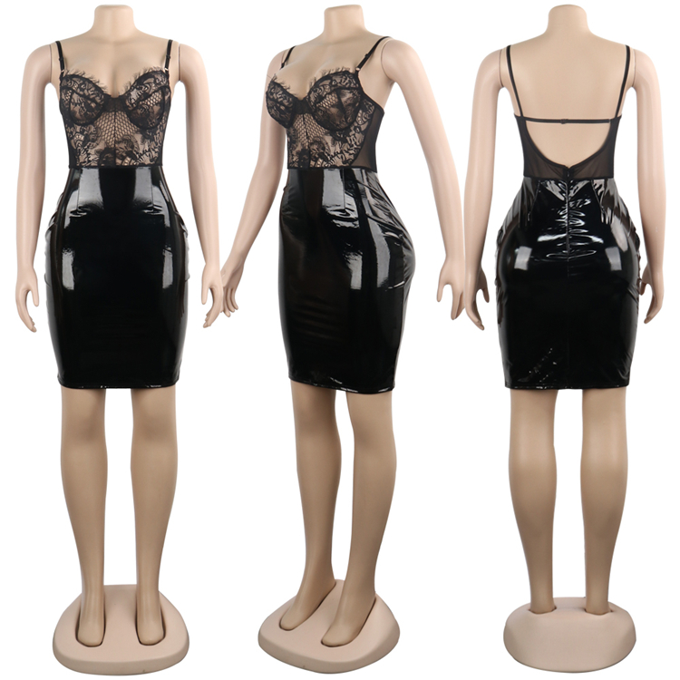 Ready to ship OEM ODM women sexy lace pu faux leather sheath club dress WA8722