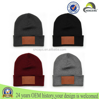 7 days lead time! leather patch beanie hat custom acrylic beanies wholesale