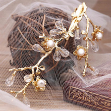 Gold Tree Branch Hair Clip Design Flower And Leaf Pearl Hair Bobby Pin Latest Hot Bridal Hair Brooch