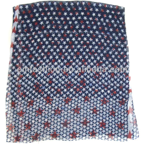 Fashion Lady's New Arrival Star Printed Cotton Scarf/Shawl Wholesale